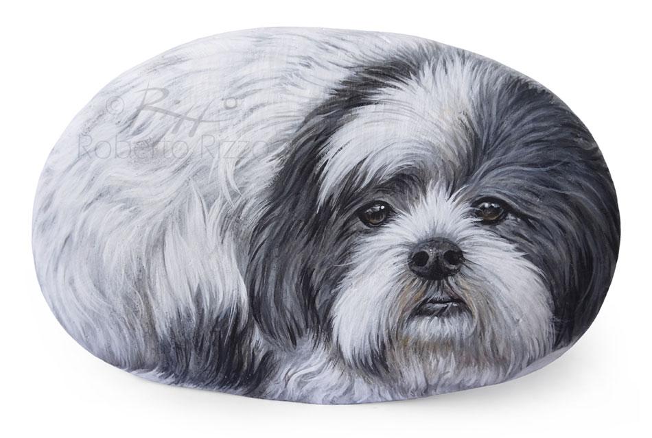 Dog painting on stone