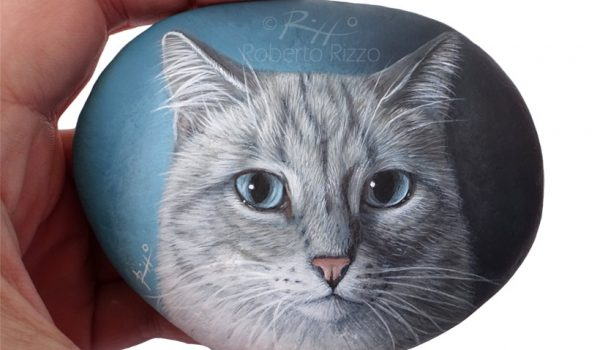 Painted Cat On A Rock